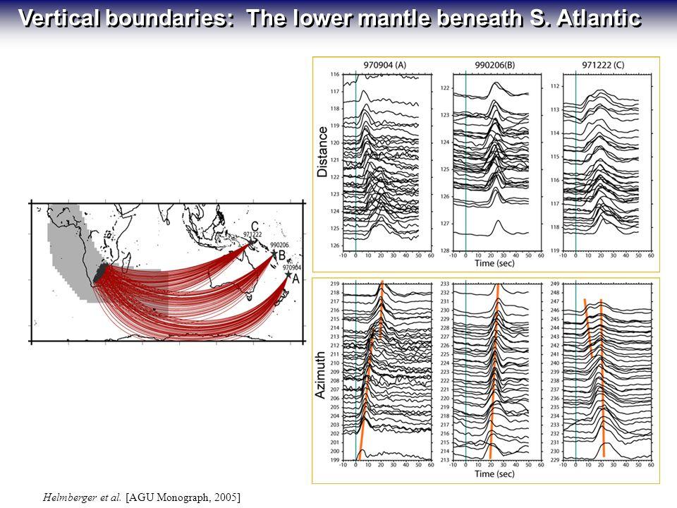 Helmberger et al. [AGU Monograph, 2005] Vertical boundaries: The lower mantle beneath S. Atlantic