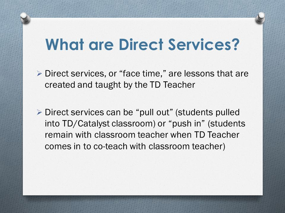 What are Direct Services.