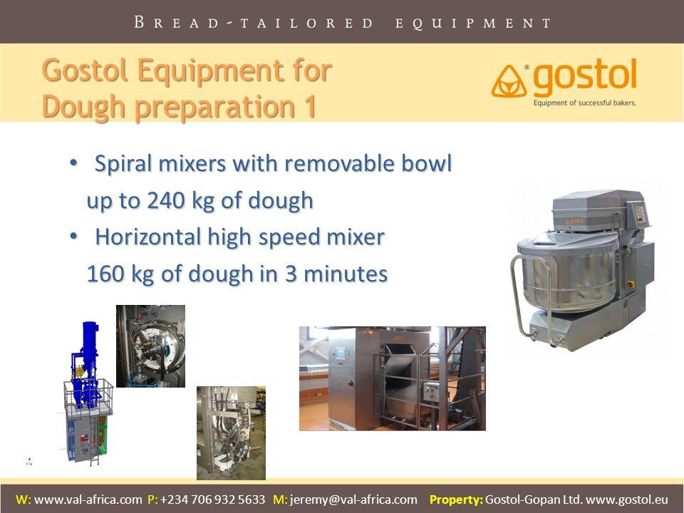 Gostol Equipment for Dough preparation 1 Spiral mixers with removable bowl Spiral mixers with removable bowl up to 240 kg of dough up to 240 kg of dou