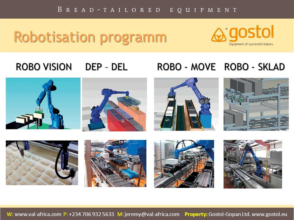 Robotisation programm ROBO VISION DEP – DEL ROBO - MOVE ROBO - SKLAD W: www.val-africa.com P: +234 706 932 5633 M: jeremy@val-africa.com Property: Gos