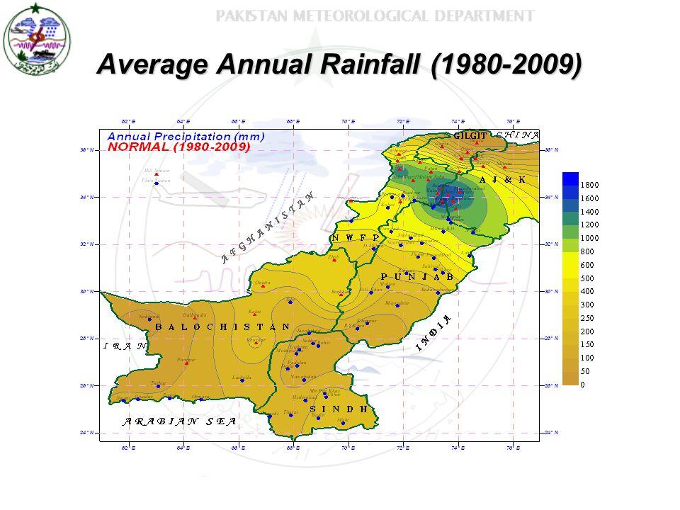 Average Annual Rainfall (1980-2009)