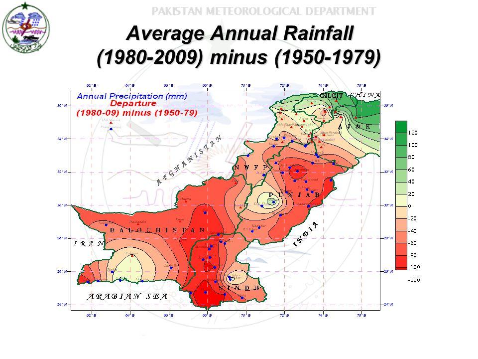 Average Annual Rainfall (1980-2009) minus (1950-1979)