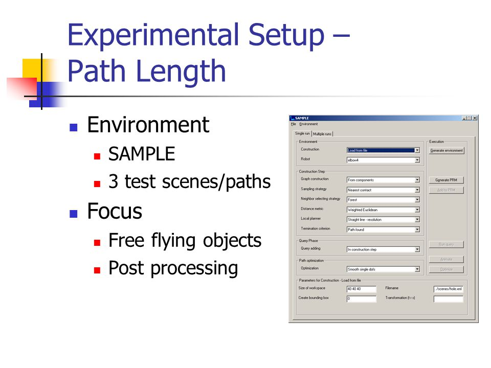 Experimental Setup – Path Length Environment SAMPLE 3 test scenes/paths Focus Free flying objects Post processing