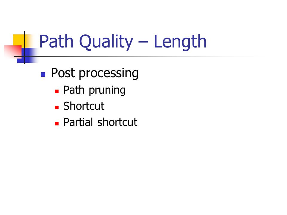 Path Quality – Length Post processing Path pruning Shortcut Partial shortcut