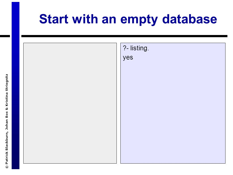 © Patrick Blackburn, Johan Bos & Kristina Striegnitz Start with an empty database ?- listing. yes