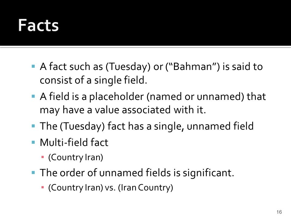  A fact such as (Tuesday) or ( Bahman ) is said to consist of a single field.