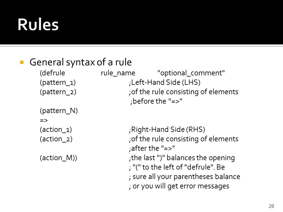  General syntax of a rule (defrulerule_name optional_comment (pattern_1) ;Left-Hand Side (LHS) (pattern_2) ;of the rule consisting of elements ;before the => (pattern_N) => (action_1) ;Right-Hand Side (RHS) (action_2) ;of the rule consisting of elements ;after the => (action_M)) ;the last ) balances the opening ; ( to the left of defrule .