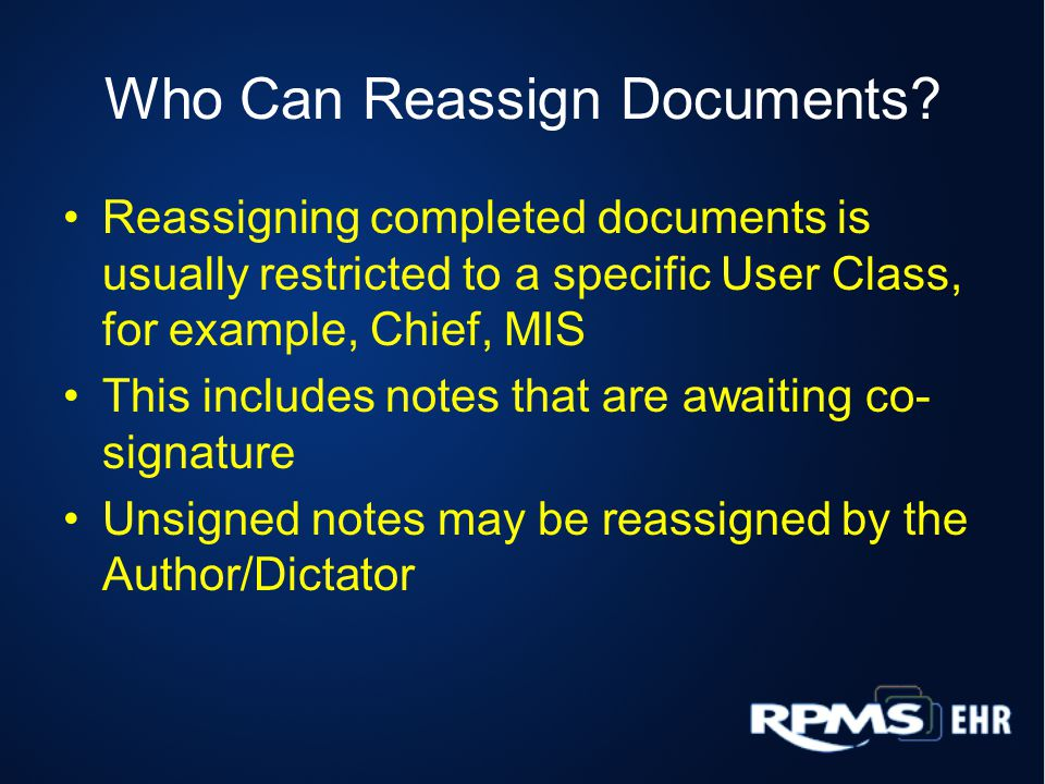 Who Can Reassign Documents.