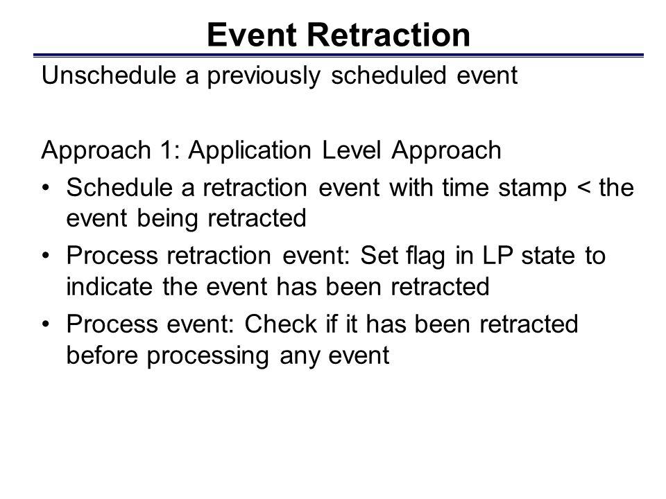 LP 2 LP 1 Retraction handled within the application Example: Application Approach E1E1 E schedule original event E invoke retract primitive process R, set flag begin to process E, notice flag is set, ignore event R schedule retract event R