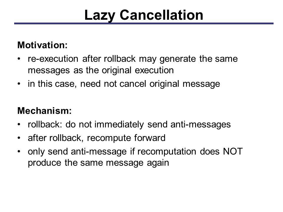 LP 2 LP 1 Lazy cancellation avoids unnecessary rollback Example: Lazy Cancellation E1+E1+ anti-message in output queue E1-E1- E2+E2+ E2-E2- roll back don't send anti-messages E2-E2- send anti-message Annihilate E 2 + and E 2 - E1+E1+ execute forward E 1 resent don't send anti-message execute forward E 2 not resent