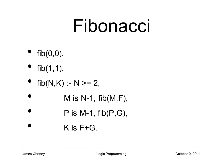 James CheneyLogic ProgrammingOctober 9, 2014 Fibonacci fib(0,0).