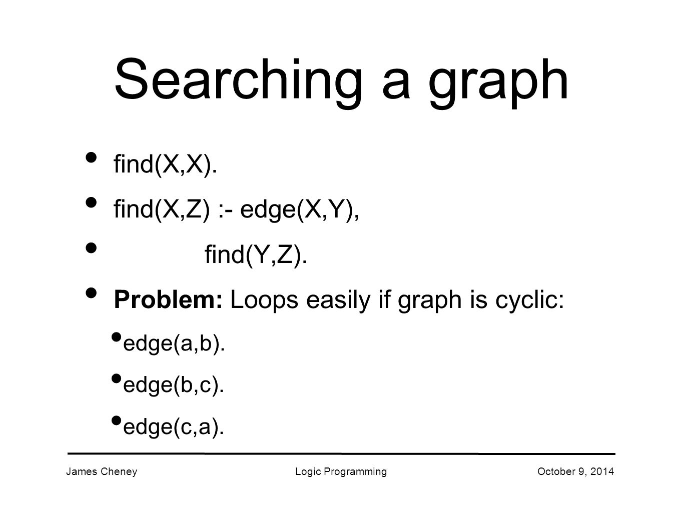 James CheneyLogic ProgrammingOctober 9, 2014 Searching a graph (2) To avoid looping: 1.
