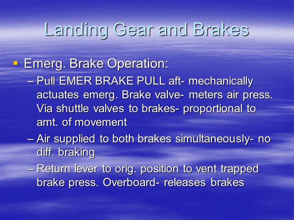 Landing Gear and Brakes  Emerg. Brake Operation: –Pull EMER BRAKE PULL aft- mechanically actuates emerg. Brake valve- meters air press. Via shuttle v