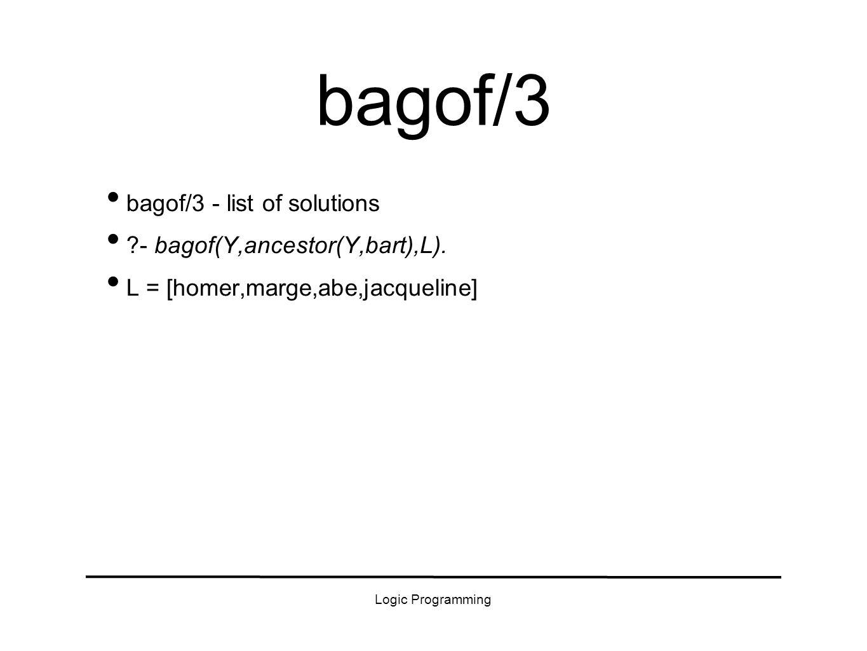 Logic Programming bagof/3 - list of solutions - bagof(Y,ancestor(Y,bart),L).