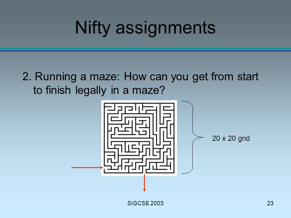 SIGCSE 200323 Nifty assignments 2.