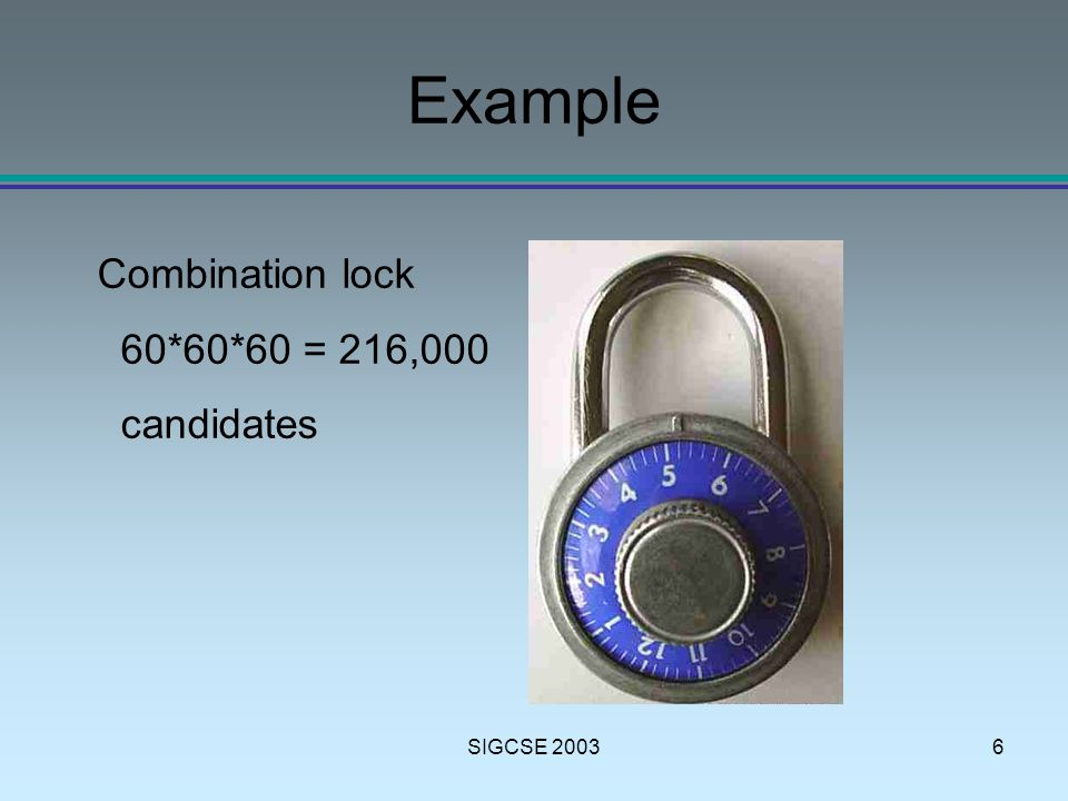 SIGCSE 20036 Example Combination lock 60*60*60 = 216,000 candidates