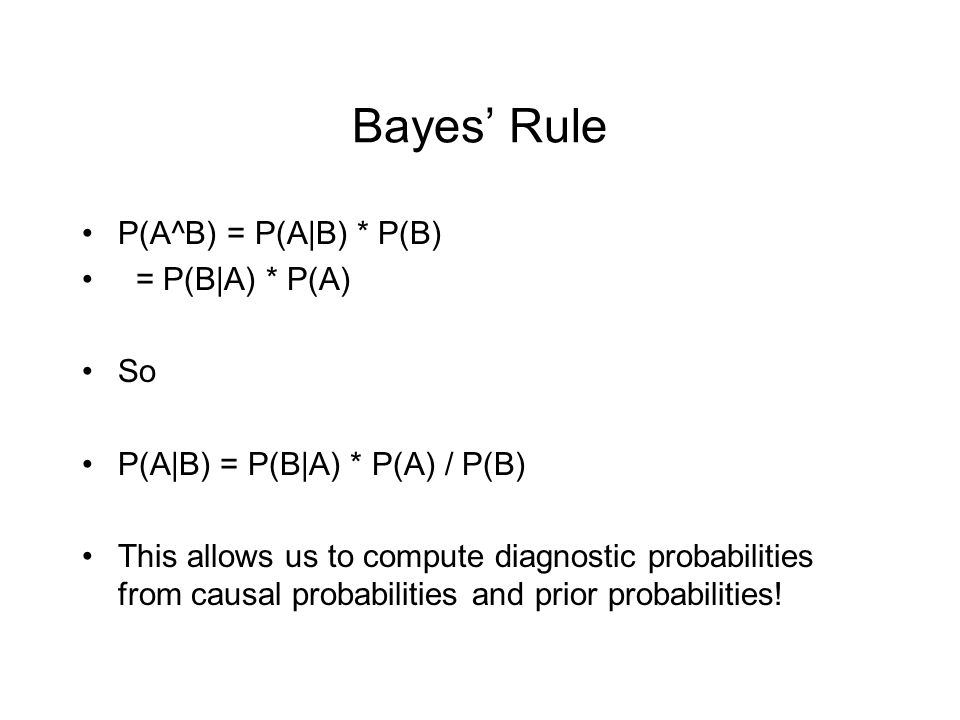 Bayes' Rule P(A^B) = P(A|B) * P(B) = P(B|A) * P(A) So P(A|B) = P(B|A) * P(A) / P(B) This allows us to compute diagnostic probabilities from causal pro