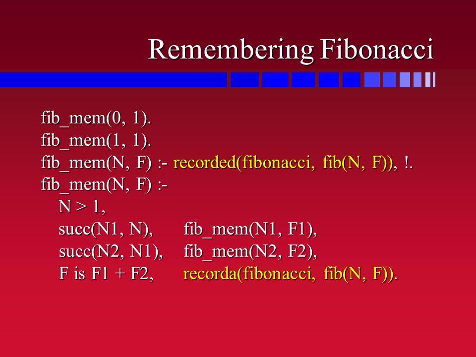 Remembering Fibonacci fib_mem(0, 1). fib_mem(1, 1).