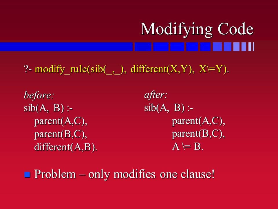 Modifying Code ?- modify_rule(sib(_,_), different(X,Y), X\=Y).
