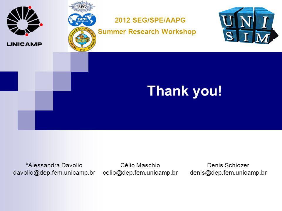 Thank you! *Alessandra Davolio davolio@dep.fem.unicamp.br Célio Maschio celio@dep.fem.unicamp.br Denis Schiozer denis@dep.fem.unicamp.br Summer Resear
