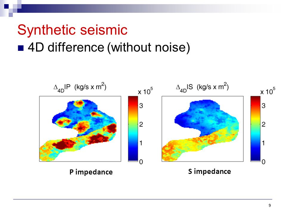 10 Synthetic seismic 4D difference (with random noise) P impedance S impedance