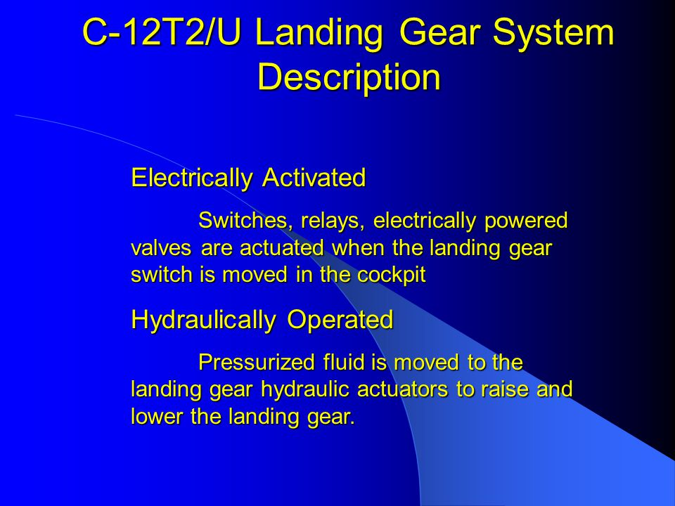 C-12 Landing Gear System Review Questions The timer logic relay in the landing gear system will activate after the gear motor has been operating for ________.