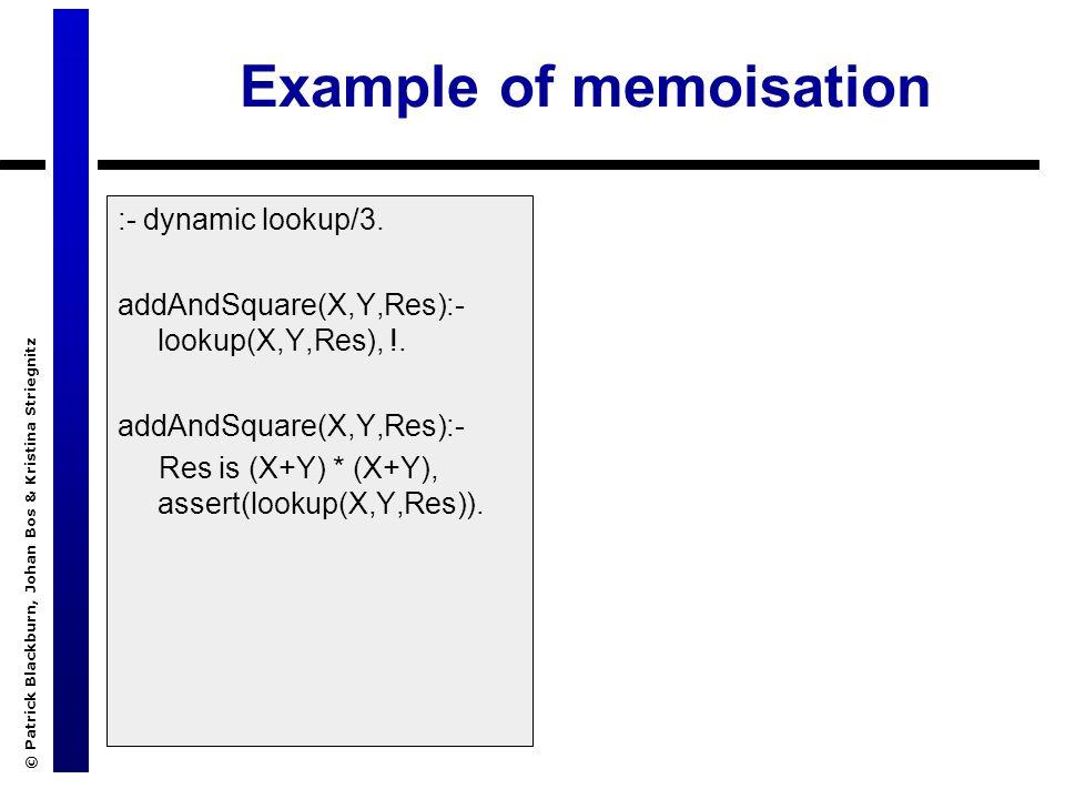 © Patrick Blackburn, Johan Bos & Kristina Striegnitz Example of memoisation :- dynamic lookup/3.