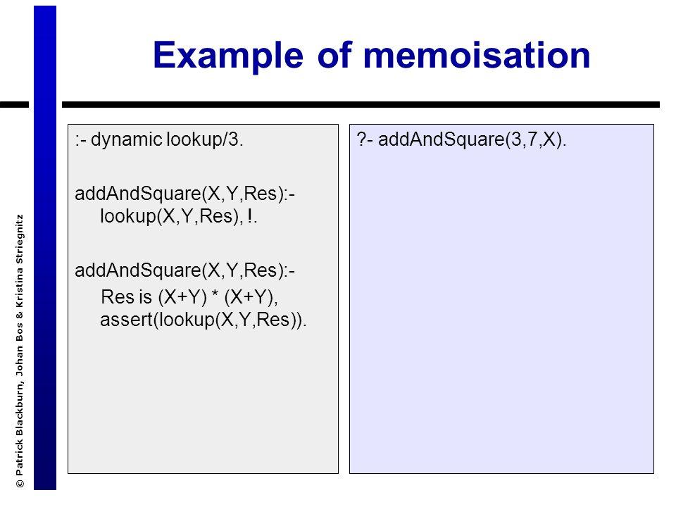 © Patrick Blackburn, Johan Bos & Kristina Striegnitz Example of memoisation :- dynamic lookup/3. addAndSquare(X,Y,Res):- lookup(X,Y,Res), !. addAndSqu