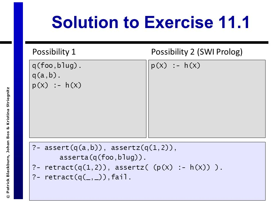 © Patrick Blackburn, Johan Bos & Kristina Striegnitz Solution to Exercise 11.1 q(foo,blug). q(a,b). p(X) :- h(X) ?- assert(q(a,b)), assertz(q(1,2)), a