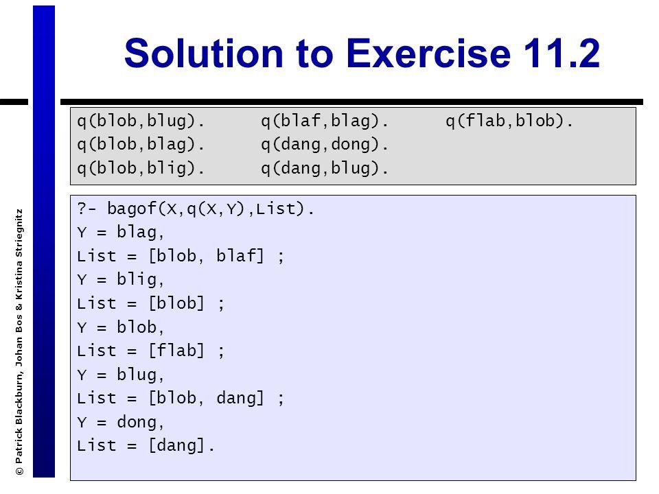 © Patrick Blackburn, Johan Bos & Kristina Striegnitz Solution to Exercise 11.2 q(blob,blug). q(blob,blag). q(blob,blig). q(blaf,blag). q(dang,dong). q