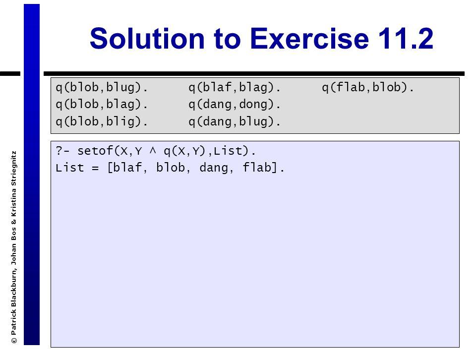© Patrick Blackburn, Johan Bos & Kristina Striegnitz Solution to Exercise 11.2 q(blob,blug).
