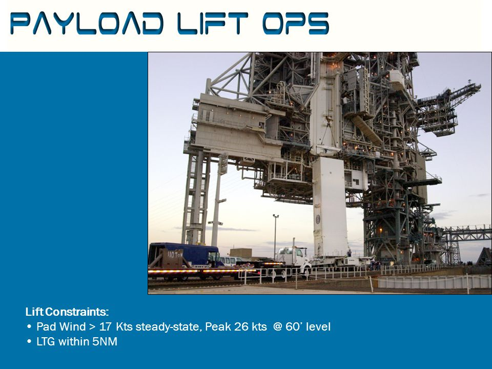 Lift Constraints: Pad Wind > 17 Kts steady-state, Peak 26 kts @ 60' level LTG within 5NM Payload Lift Ops