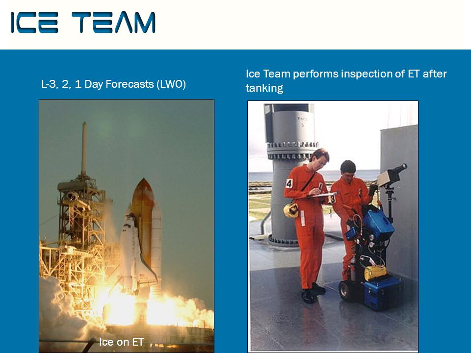 Ice on ET L-3, 2, 1 Day Forecasts (LWO) Ice Team performs inspection of ET after tanking Ice Team