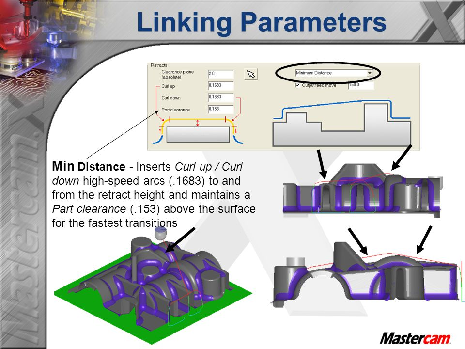 Min Distance - Inserts Curl up / Curl down high-speed arcs (.1683) to and from the retract height and maintains a Part clearance (.153) above the surface for the fastest transitions Linking Parameters