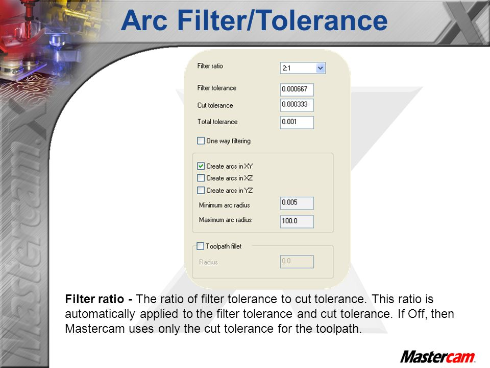 Filter ratio - The ratio of filter tolerance to cut tolerance.