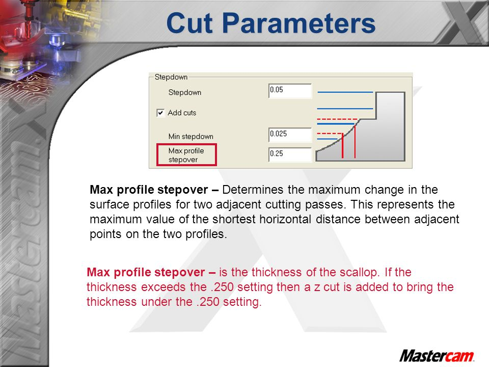Cut Parameters Max profile stepover – is the thickness of the scallop.