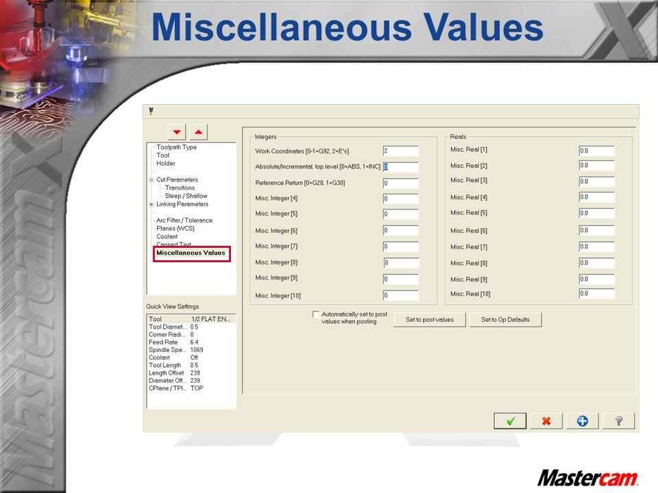 Miscellaneous Values