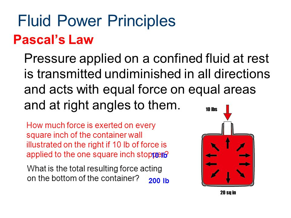 Fluid Power Principles Pascal's Law Pressure applied on a confined fluid at rest is transmitted undiminished in all directions and acts with equal for