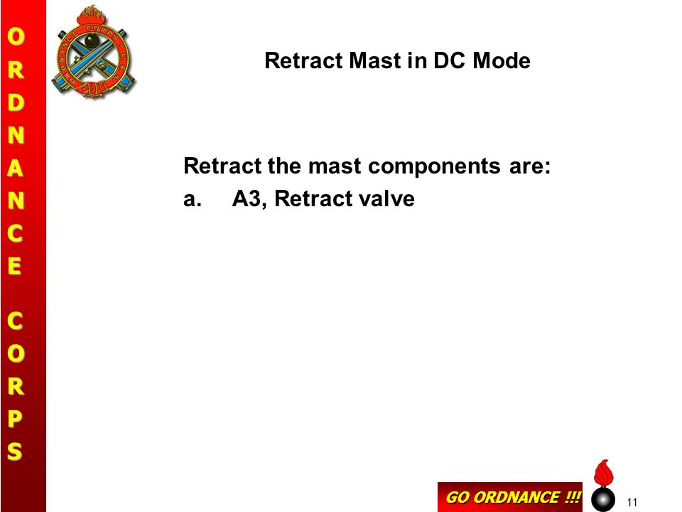 GO ORDNANCE !!! ORDNANCECORPS 11 Retract Mast in DC Mode Retract the mast components are: a.A3, Retract valve