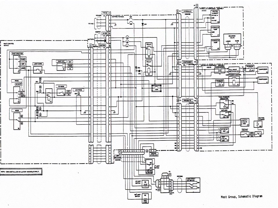 The schematic is broken down into five sections.