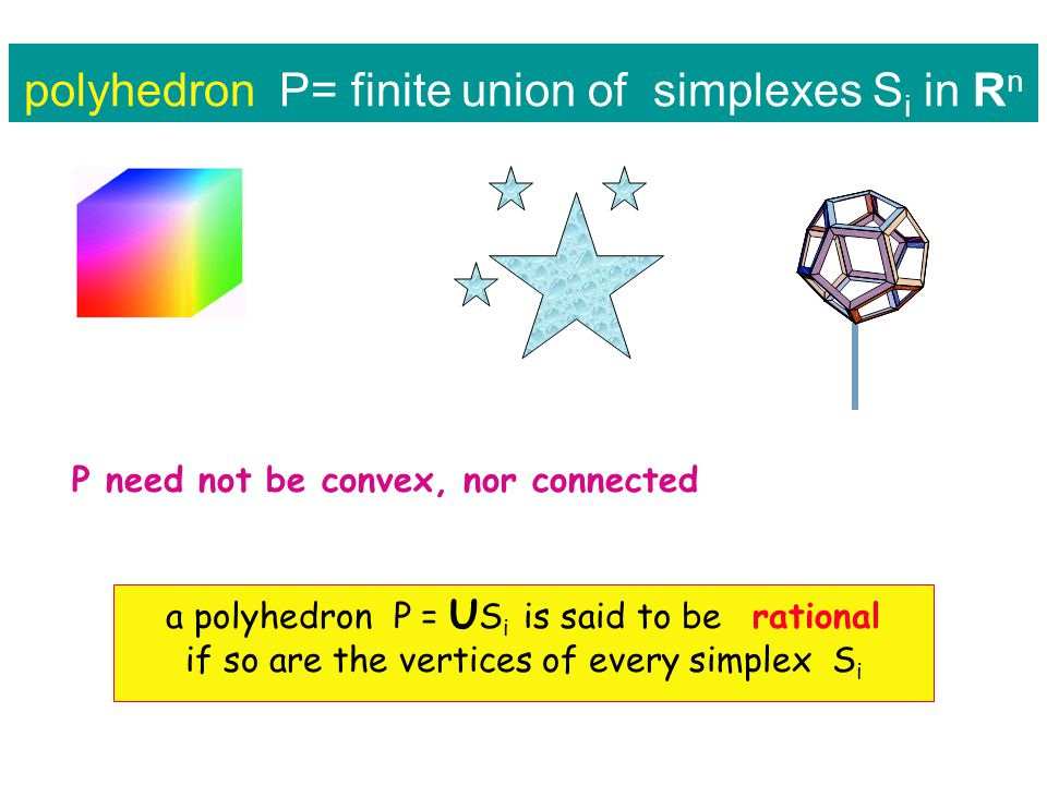 polyhedron P= finite union of simplexes S i in R n P need not be convex, nor connected a polyhedron P = U S i is said to be rational if so are the vertices of every simplex S i