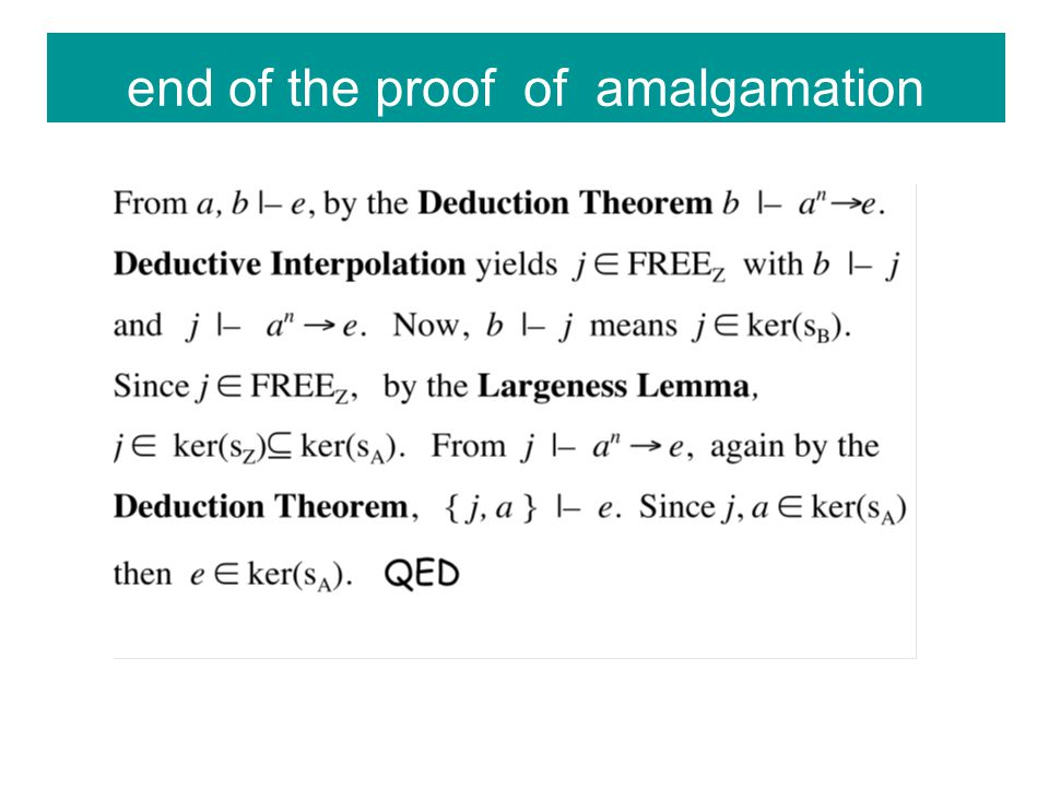 end of the proof of amalgamation