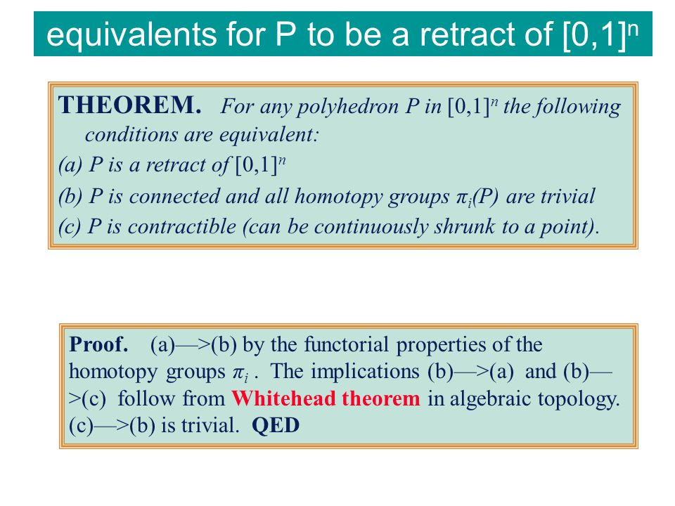 equivalents for P to be a retract of [0,1] n THEOREM.