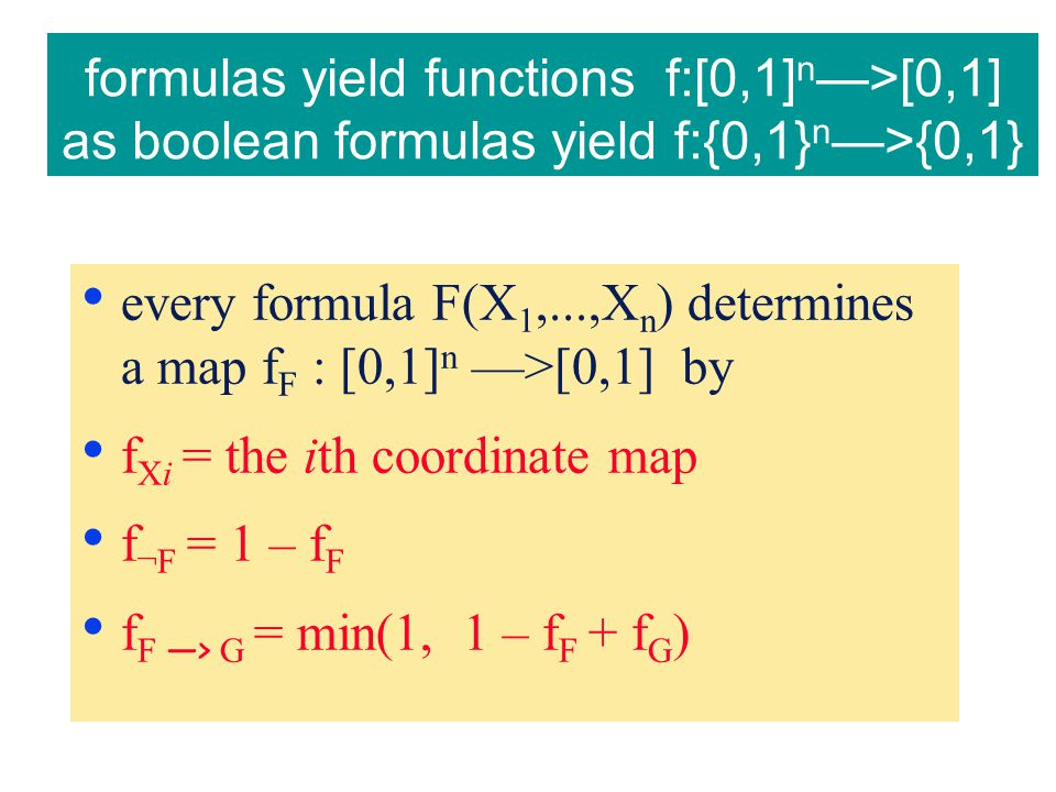 formulas yield functions f:[0,1] n —>[0,1] as boolean formulas yield f:{0,1} n —>{0,1} every formula F(X 1,...,X n ) determines a map f F : [0,1] n —>[0,1] by f Xi = the ith coordinate map f ¬F = 1 – f F f F —> G = min(1, 1 – f F + f G )
