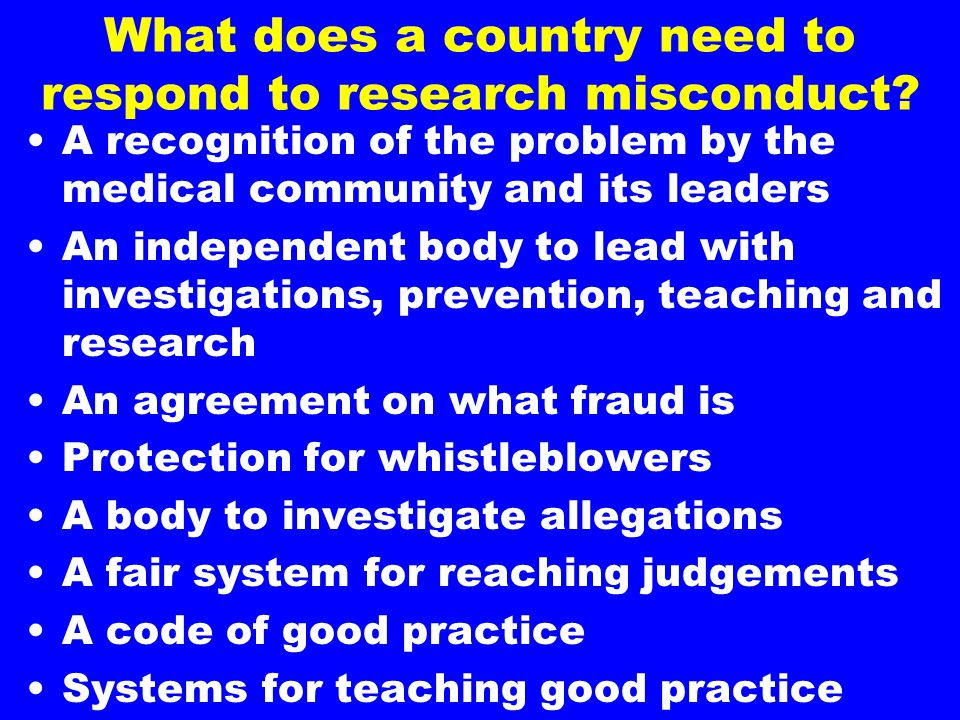 What does a country need to respond to research misconduct.
