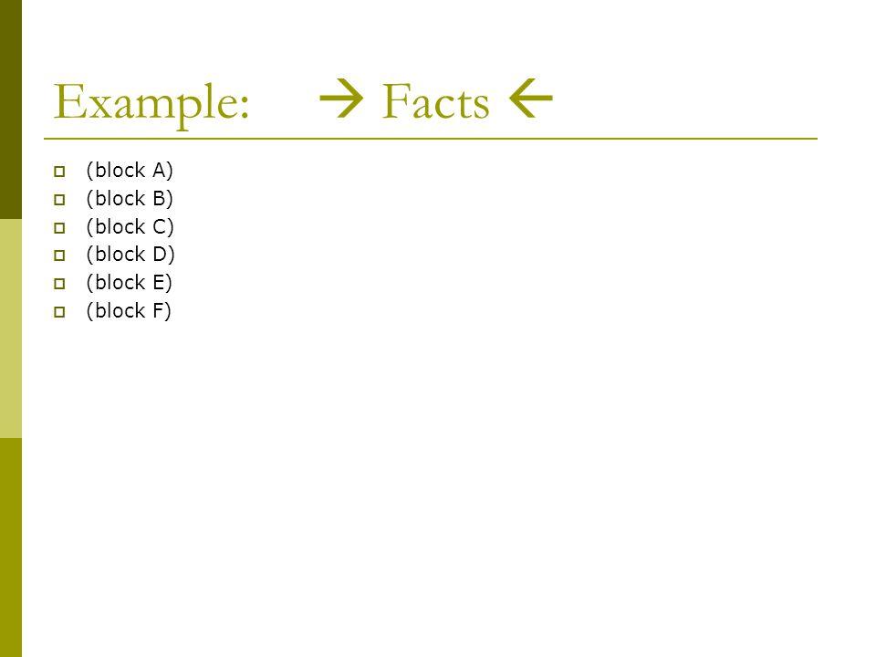 Example:  Facts   (block A)  (block B)  (block C)  (block D)  (block E)  (block F)