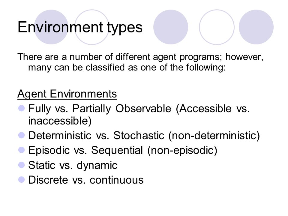 Environment types There are a number of different agent programs; however, many can be classified as one of the following: Agent Environments Fully vs.