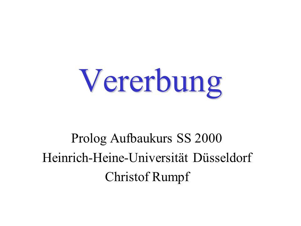 Vererbung Prolog Aufbaukurs SS 2000 Heinrich-Heine-Universität Düsseldorf Christof Rumpf