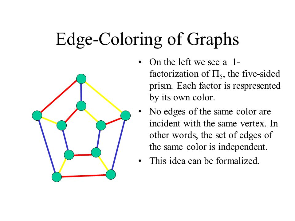 Edge-Coloring of Graphs On the left we see a 1- factorization of  5, the five-sided prism.