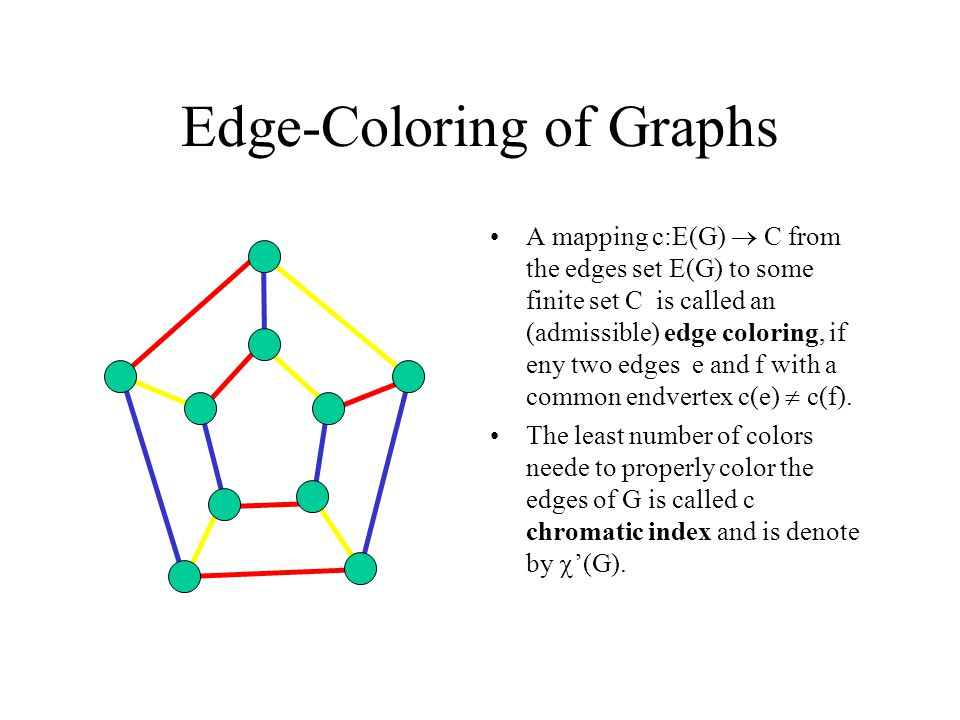 Edge-Coloring of Graphs A mapping c:E(G)  C from the edges set E(G) to some finite set C is called an (admissible) edge coloring, if eny two edges e